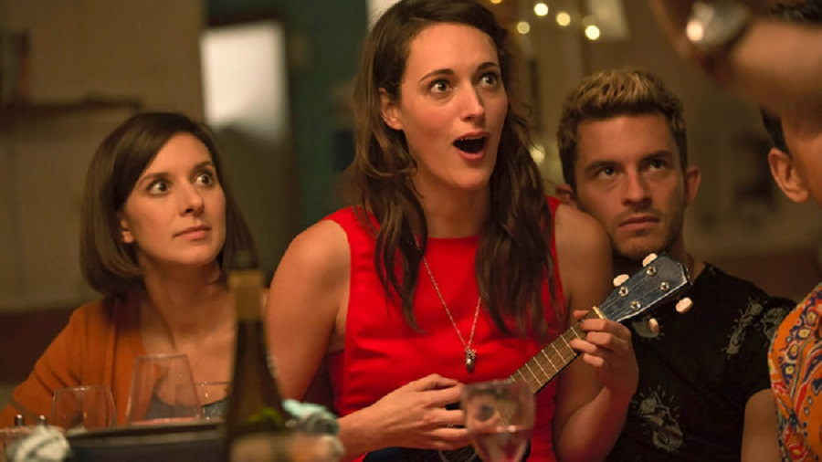 House Party: Louise Ford (Kate), Phoebe Waller-Bridge (Lulu) and Jonathan Bailey (Sam) in Netflix's  Crashing
