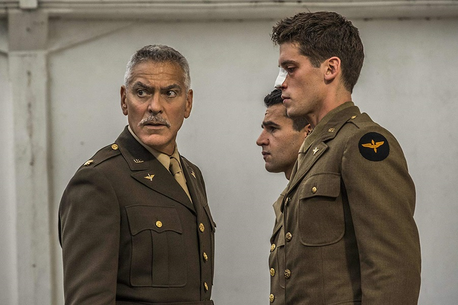 Military Intransigence: George Clooney (Scheisskopf), Christopher Abbott (Yossarian), and Pico Alexander (Clevinger) in Catch-22