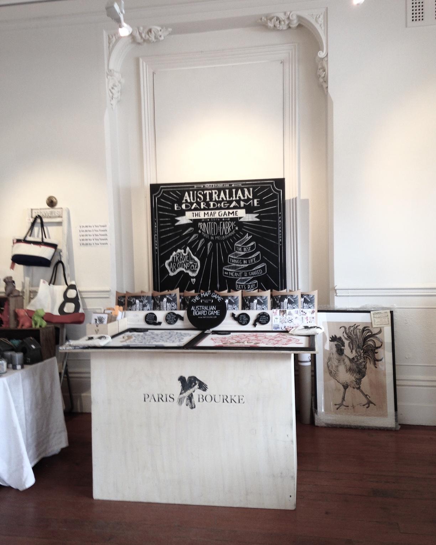 Market stall by CWC member,  Alice Legendre  for  Paris Bourke  , her Australian Map board game.