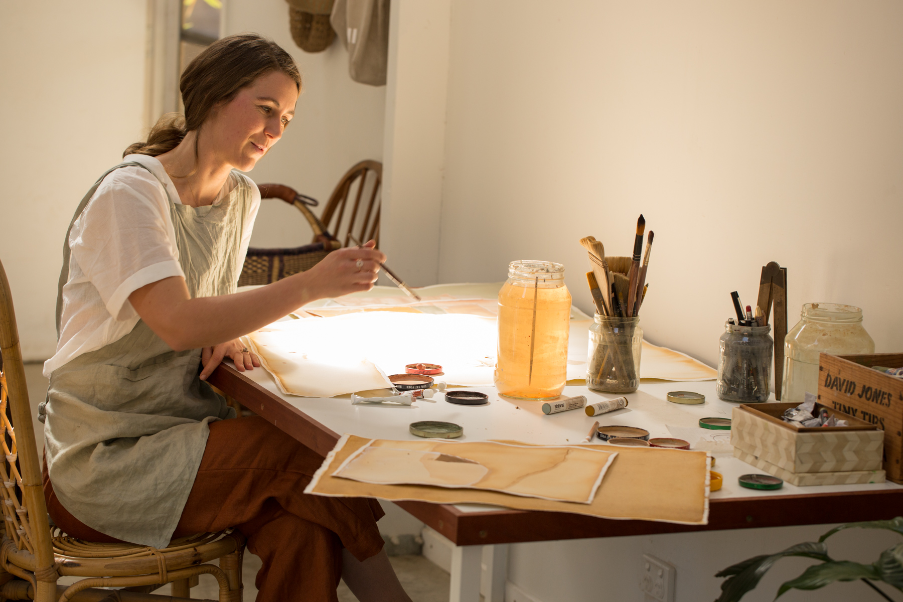 Lily working in her home studio