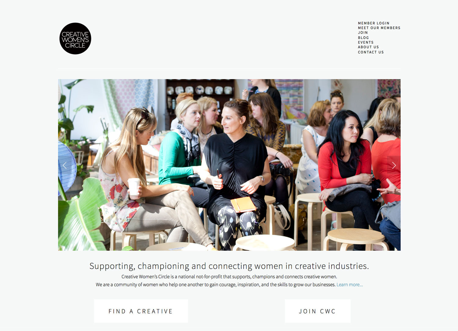 Squarespace website for Creative Women's Circle, created by CWC board members