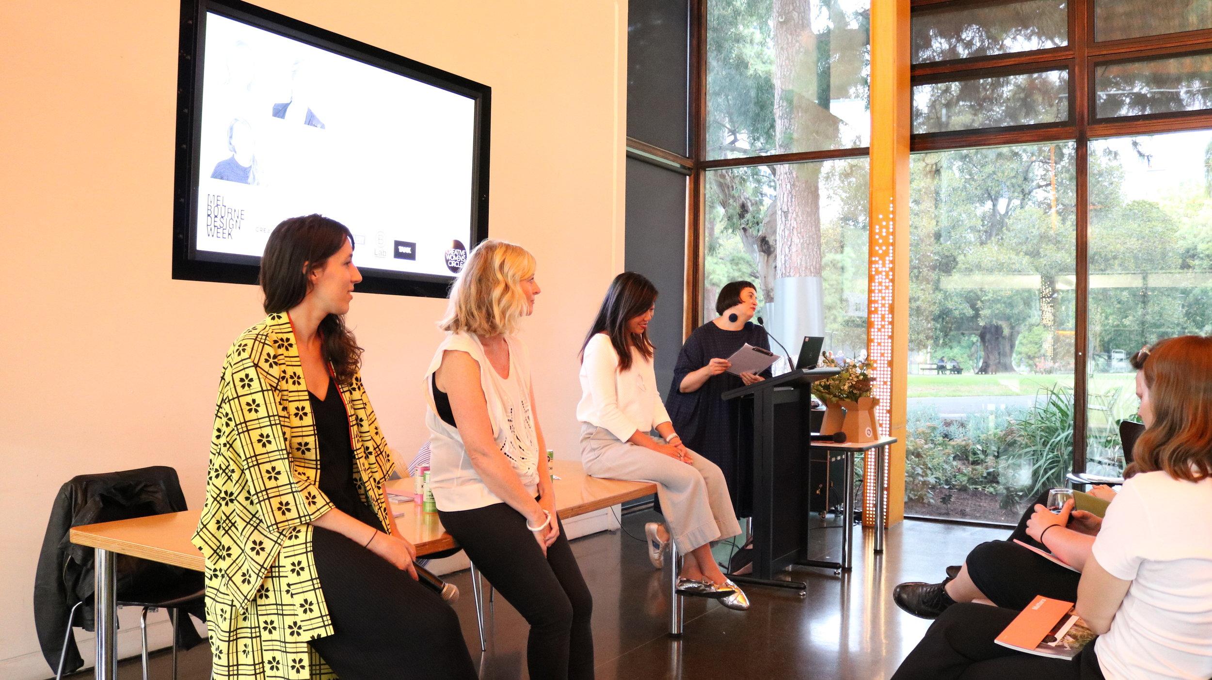 L - R: Roz Campbell (Tsuno), Katrina Dea (Tank Creative), Mindy Leow (B Lab), Netti Burke (CWC)