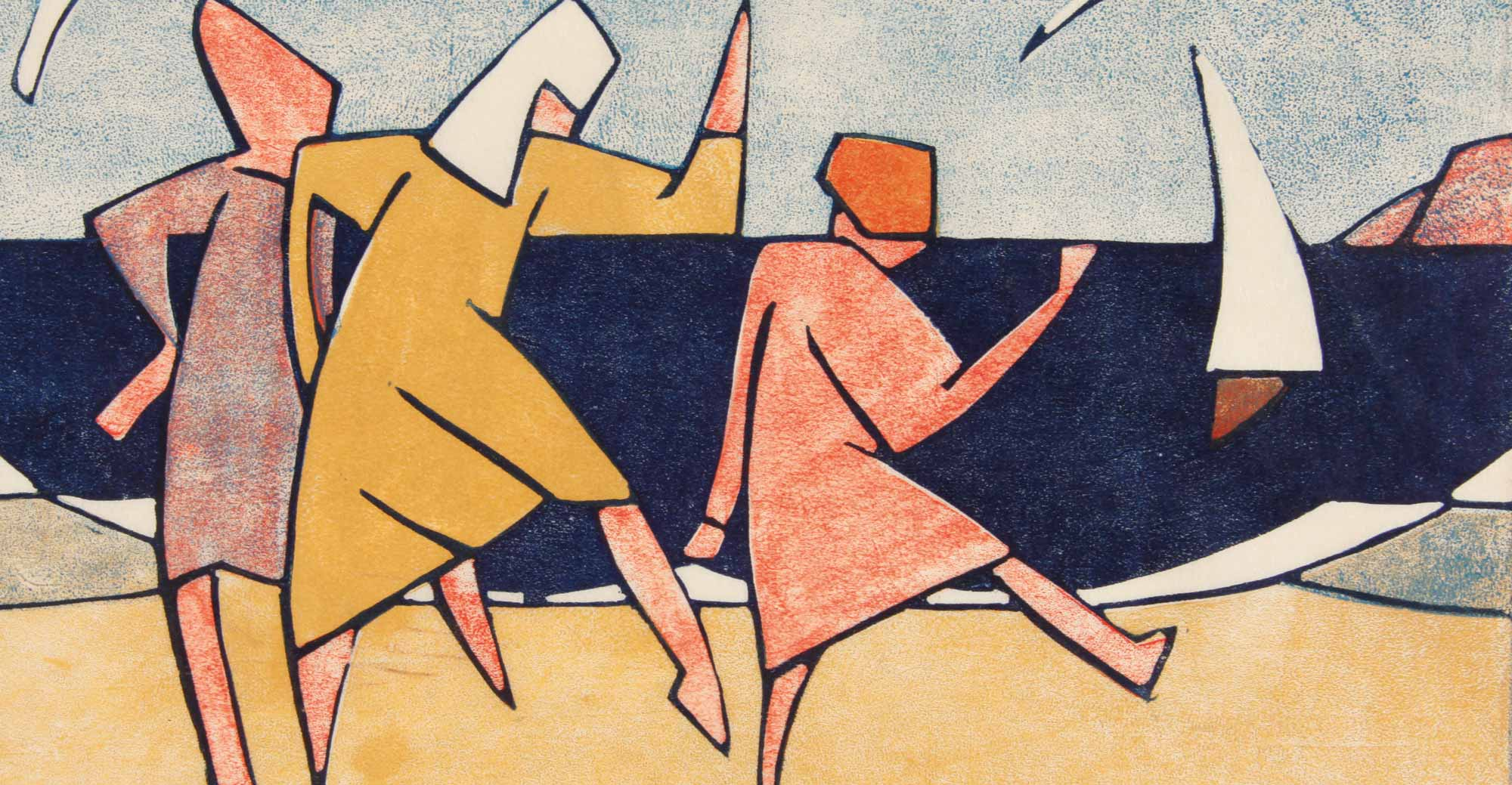 DORIT BLACK WINGS 1927–28, COLOUR LINOCUT ON PAPER, PURCHASED, 1976