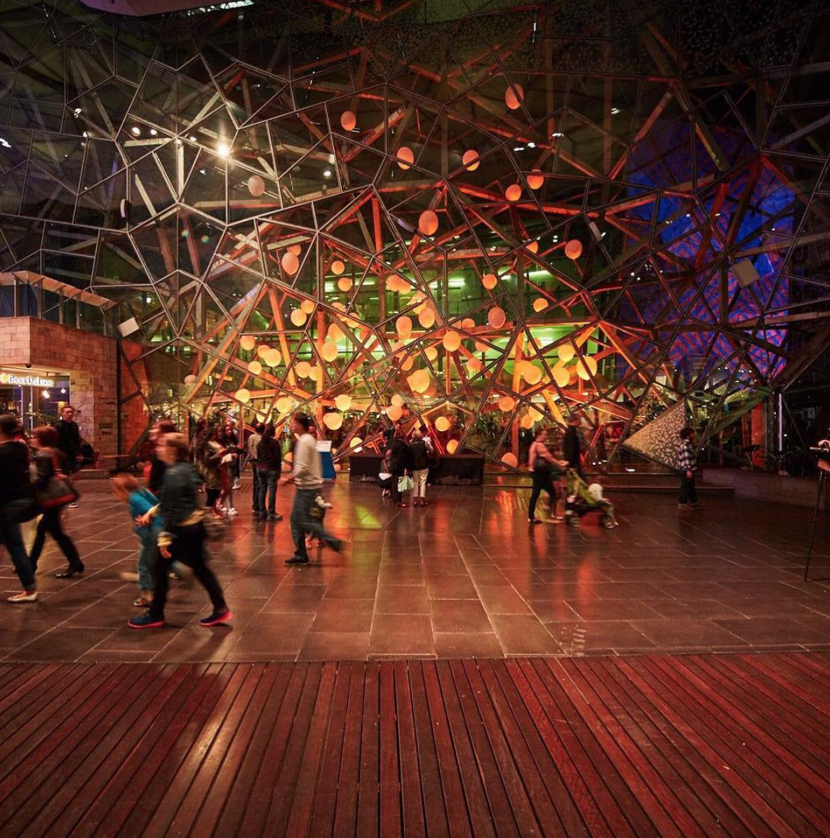 Collaborative installation by the students at Billy Blue College of Design for Melbourne's White Night