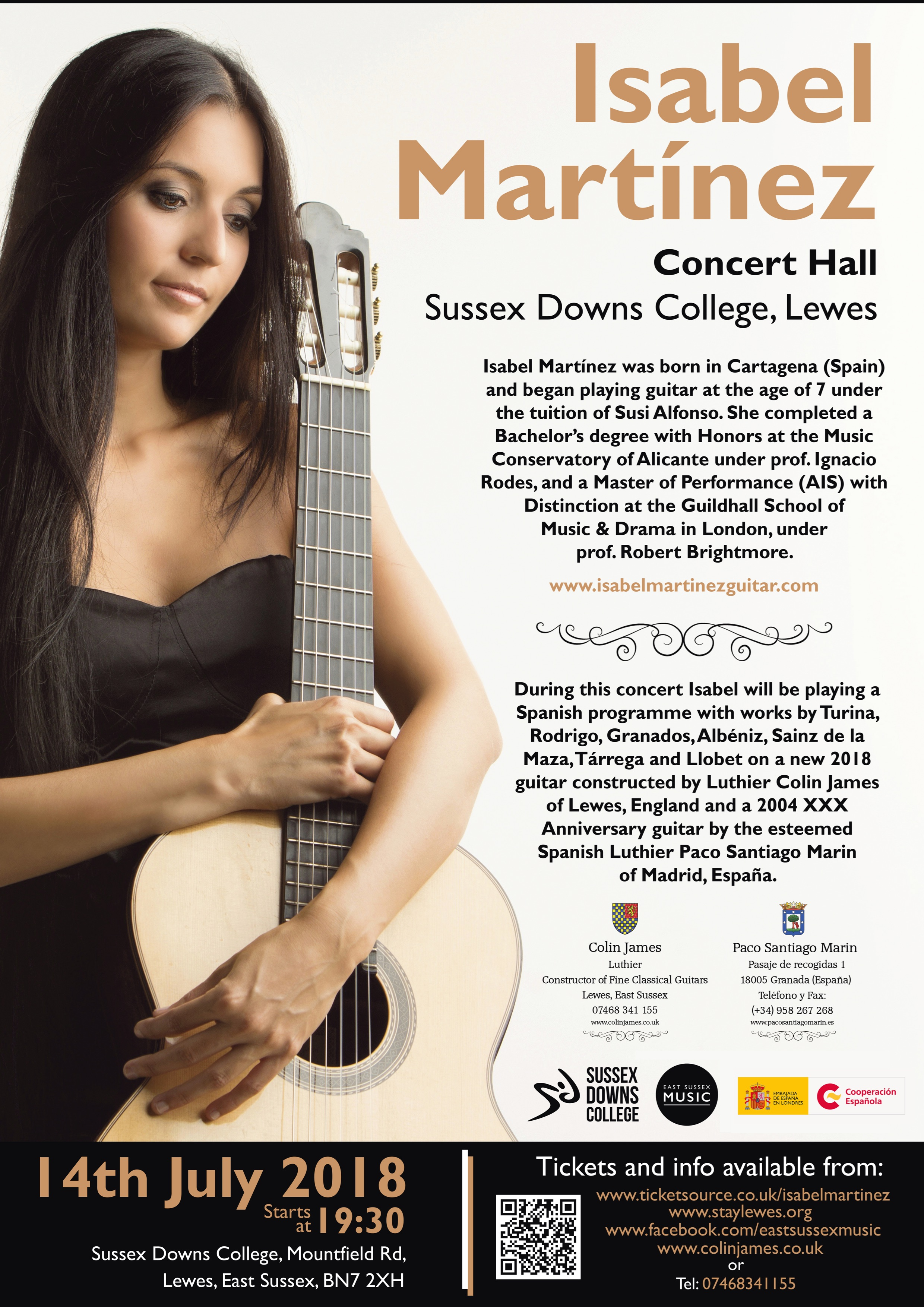 Isabel Martinez guitar concert Sussex Downs College Lewes