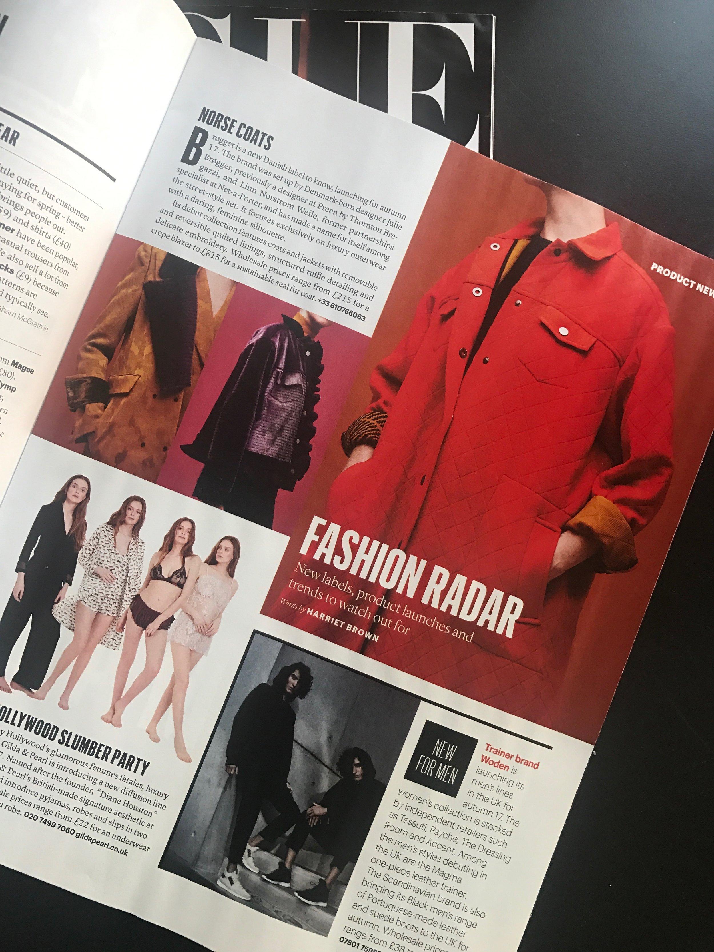Draper's   (April 2017) Scandi-luxe outerwear launches by Brøgger     https://www.drapersonline.com/product-and-trade-shows/scandi-luxe-outerwear-launches-by-brgger/7019752.article