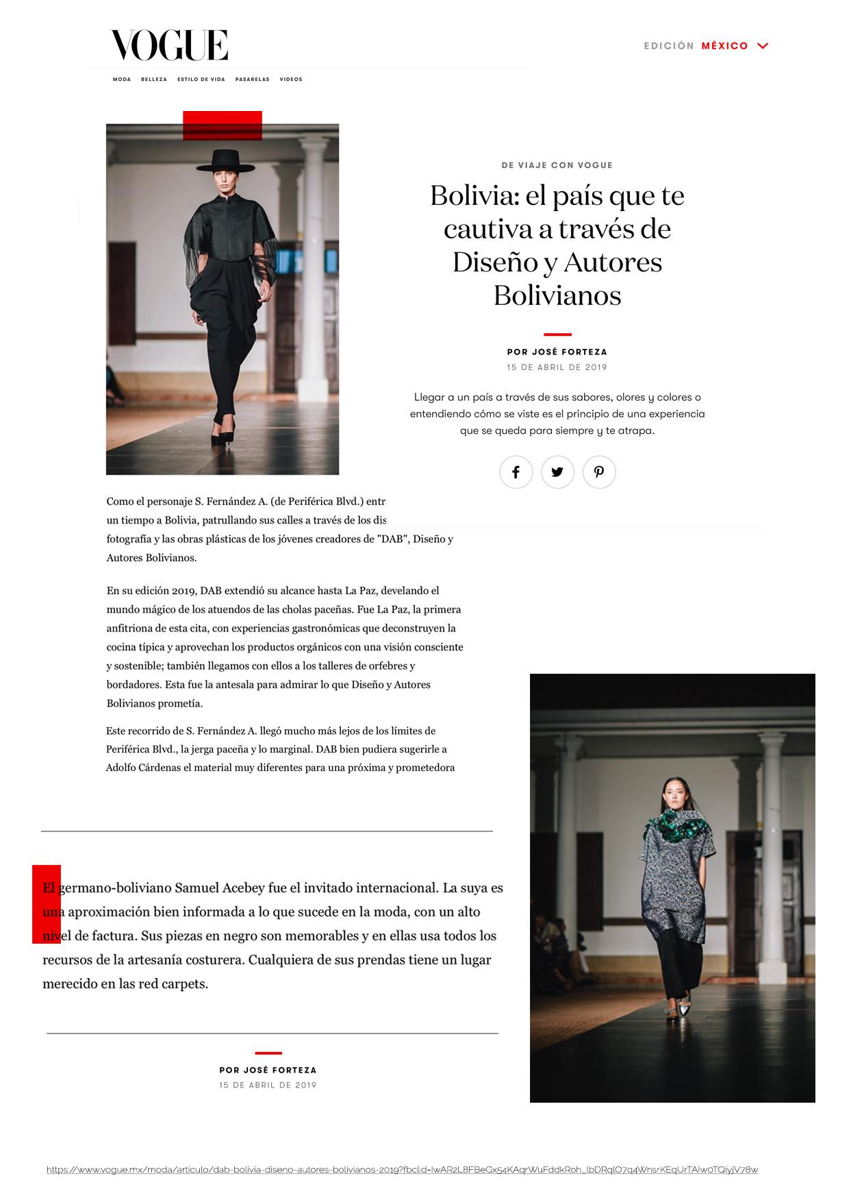 https://www.vogue.mx/moda/articulo/dab-bolivia-diseno-autores-bolivianos-2019?fbclid=IwAR2L8FBeGx54KAqrWuFddkRoh_lbDRqlO7q4WnsrKEqUrTAIw0TQiyjV78w