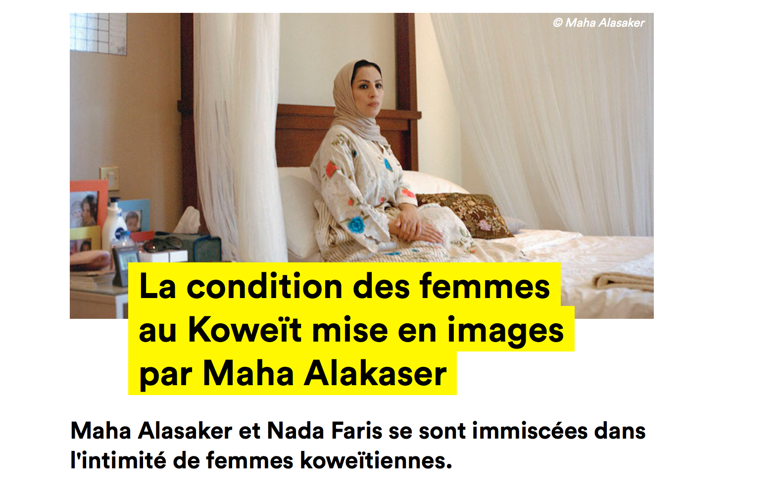 """Cheese Konbini , written an article about my work """"Women of Kuwait"""".  Cheese Konbini , the French version of a global network of websites called  Konbini  geared towards issues related to youth culture."""