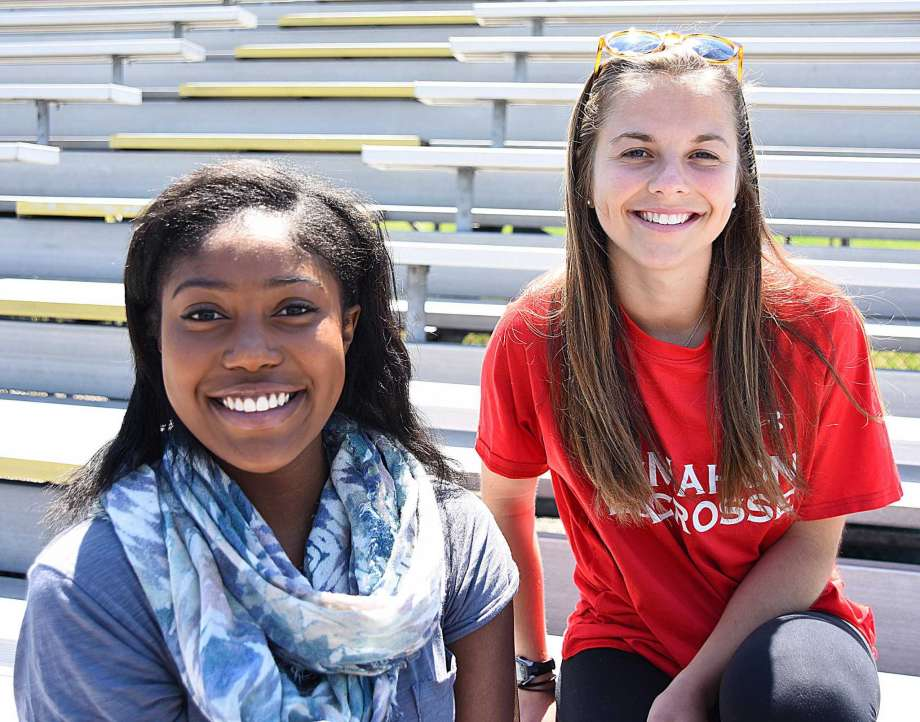 Photo: John Nash / Hearst Connecticut Media. Sarah St. Surin, left, of Norwalk High, and Bella Bean of Brien McMahon are the first two recipients of the $2,500 Chelsea Cohen Scholarship Award. Starting next year, the scholarship will be worth $5,000 and given to a female athlete from either Norwalk or McMahon who best exhibits the character and flair that Cohen did before her death 12 years ago.  See The Hour article here .