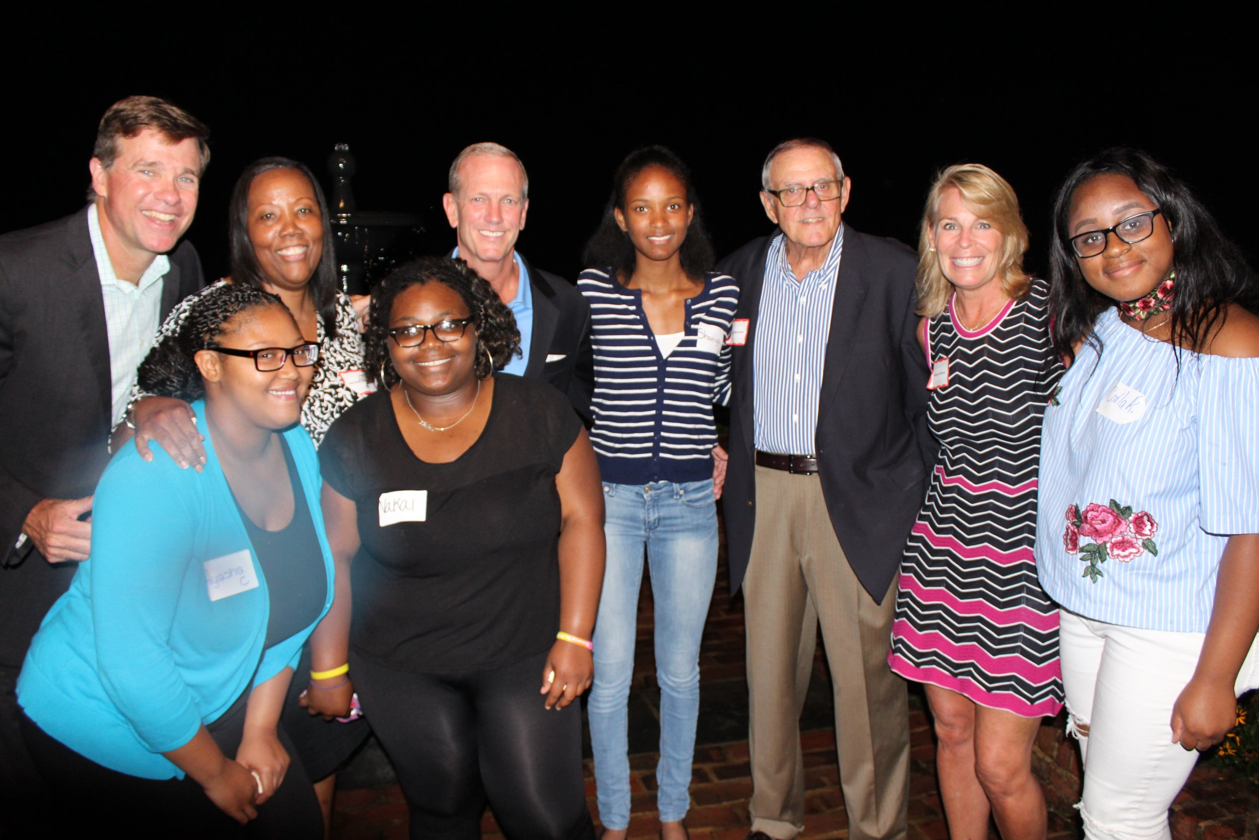 A recent Connections Party to raise funds for the Carver Foundation of Norwalk drew 75 people. These include, top, from left, Joe Gallagher, Novelette Peterkin, Nick Williams, Shaniya Mesilien, Dick Whitcomb, Whitney Williams and Carla Romeus; bottom, from left, Ayasha Cantey and Nakai Steen. — Contributed photo. New Canaan recently helped educate kids whom are apart of the Carver Foundation of Norwalk, and at the Carver Community Center also in Norwalk.