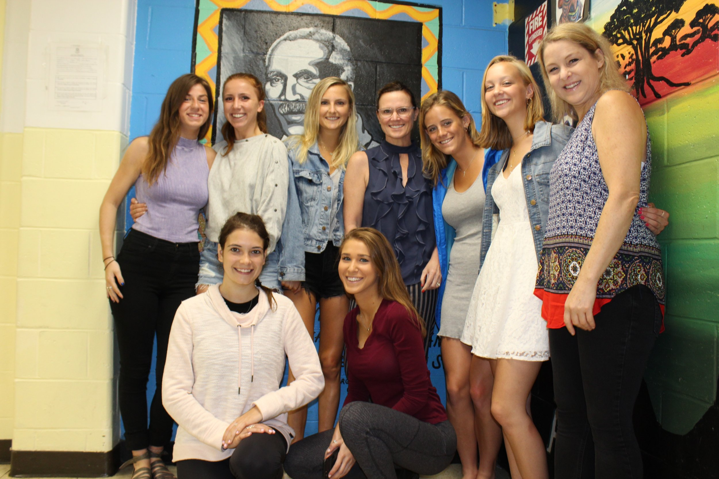 Standing fourth from left,  Miranda Malinowski , Global Head of Recruiting for Facebook, visiting the interns at Carver to share career advice and guidance. Janine Smith is standing first right.