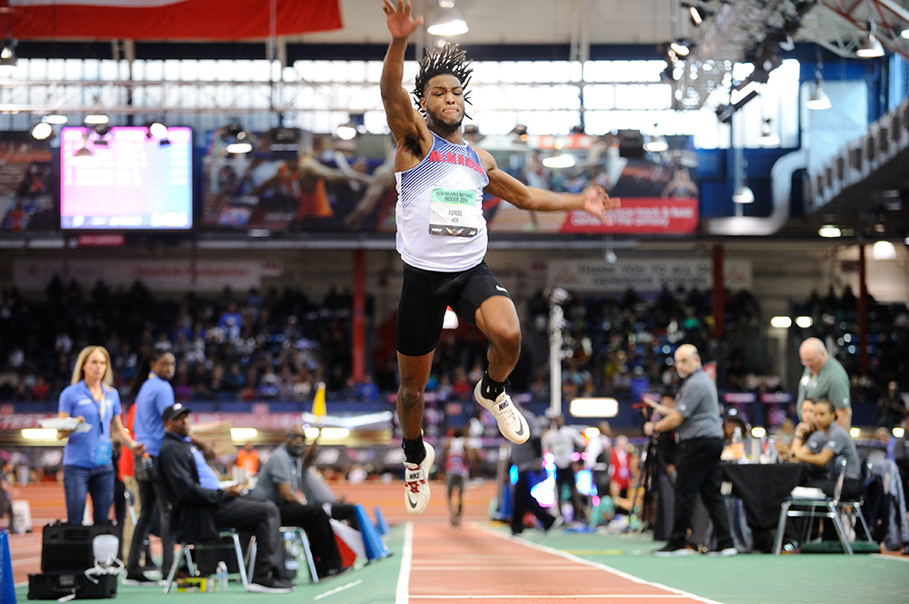 At the recent New Balance Indoor Boys in March 2019, here is Justin in the Triple Jump.  Photo by Dave MacCauley