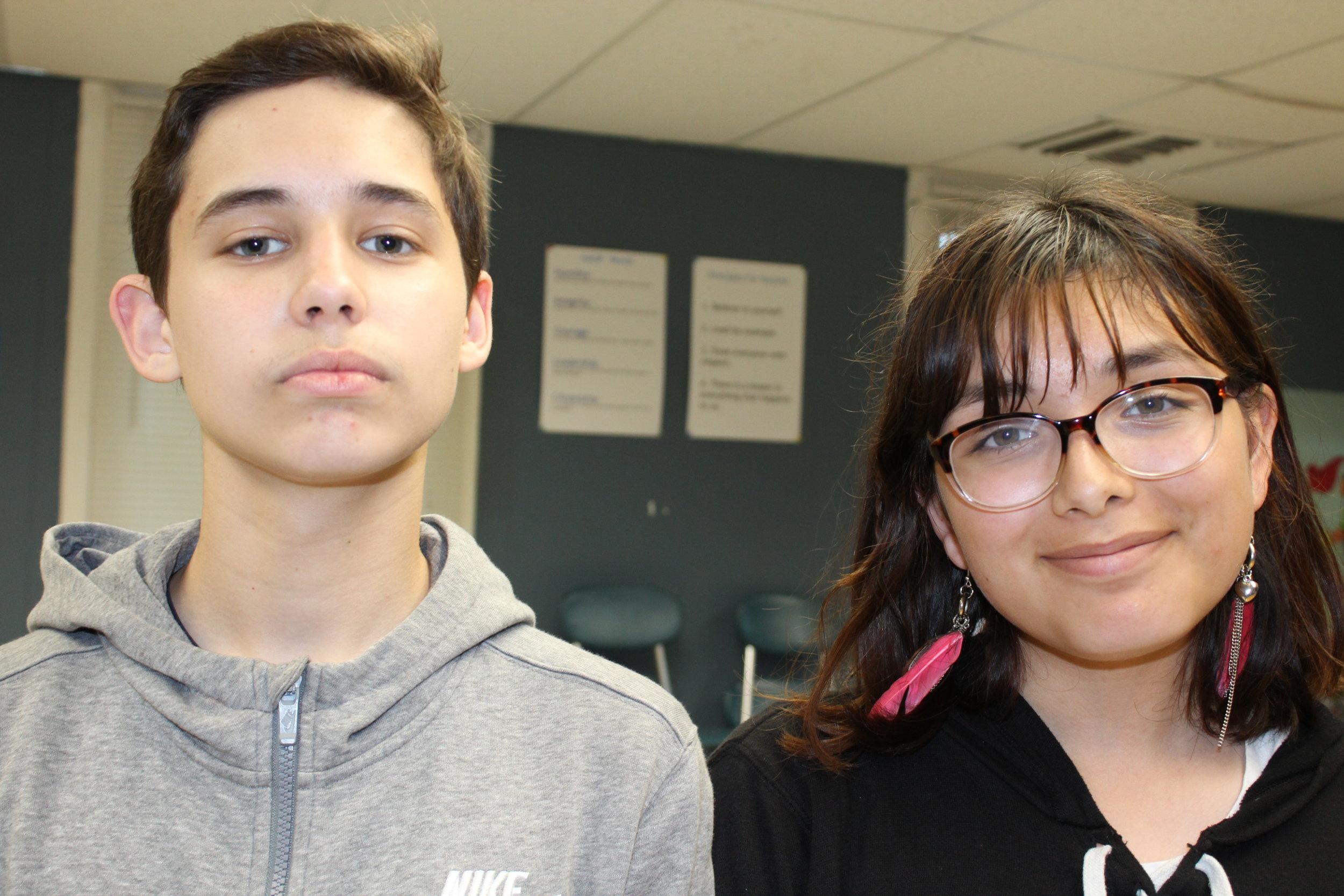 Volunteers Sabastian Samperez and Emily Becerril