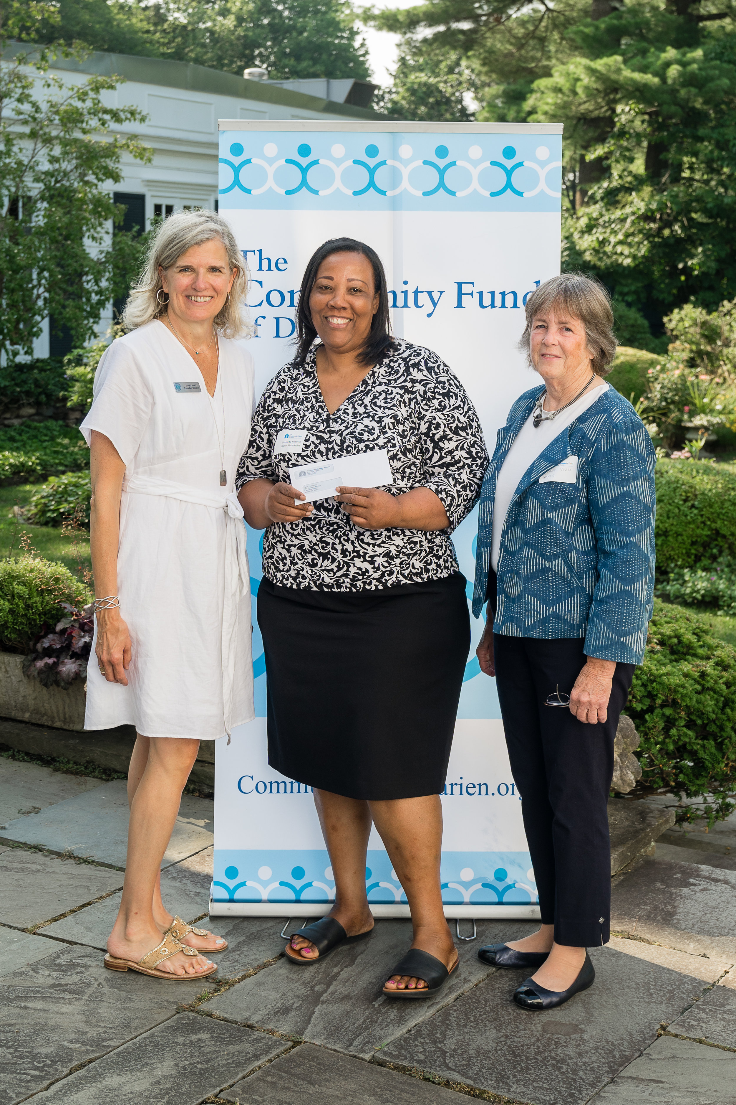 L-R: Community Fund of Darien's Executive Director, Janet King; Novelette Peterkin, Carver's CEO; and Jane Yezzi, a Community Fund of Darien volunteer and a volunteer leader for other charities such as A Better Chance (ABC) in Darien.