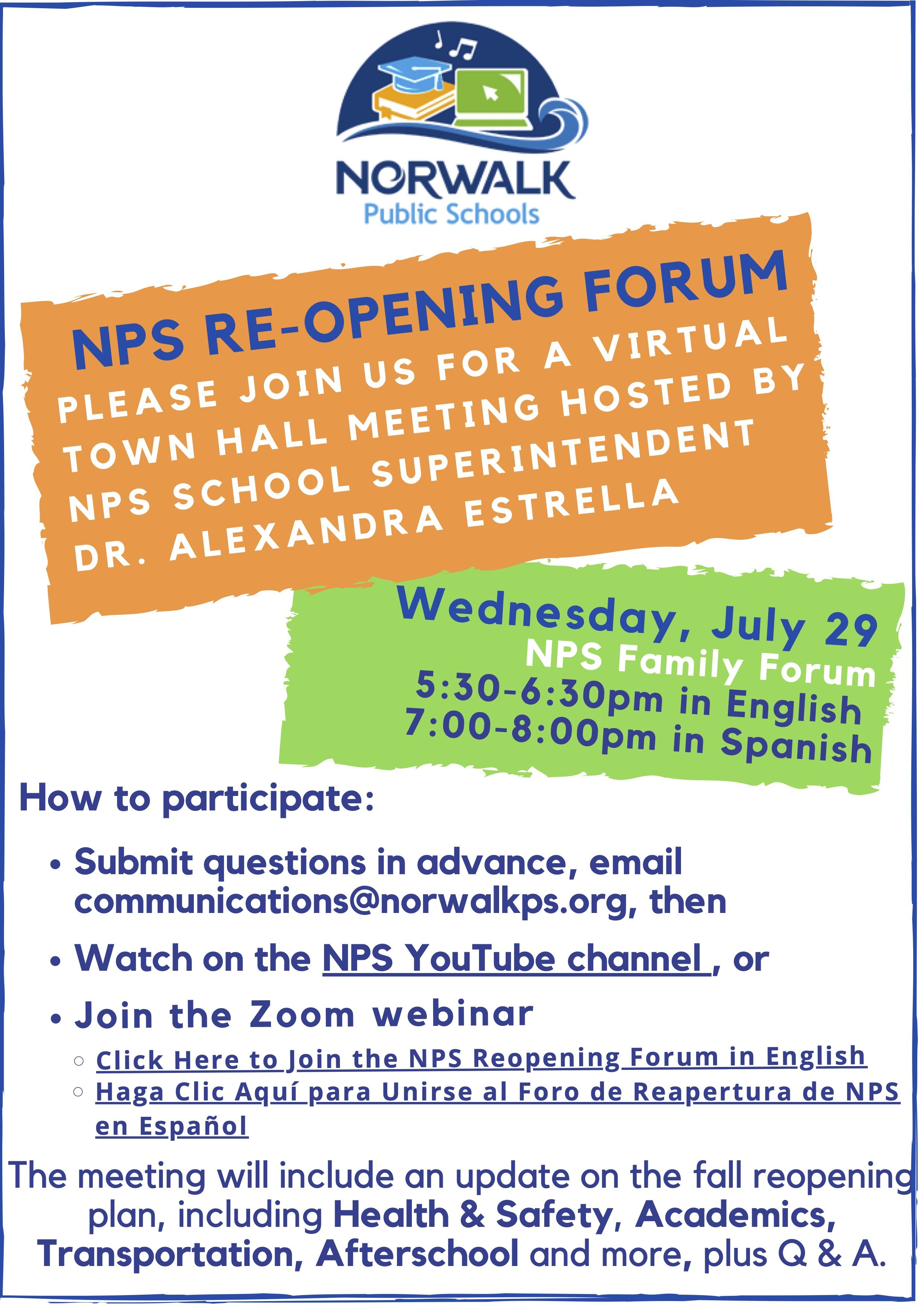Nps Reopening Plans Forum Carver Foundation Of Norwalk