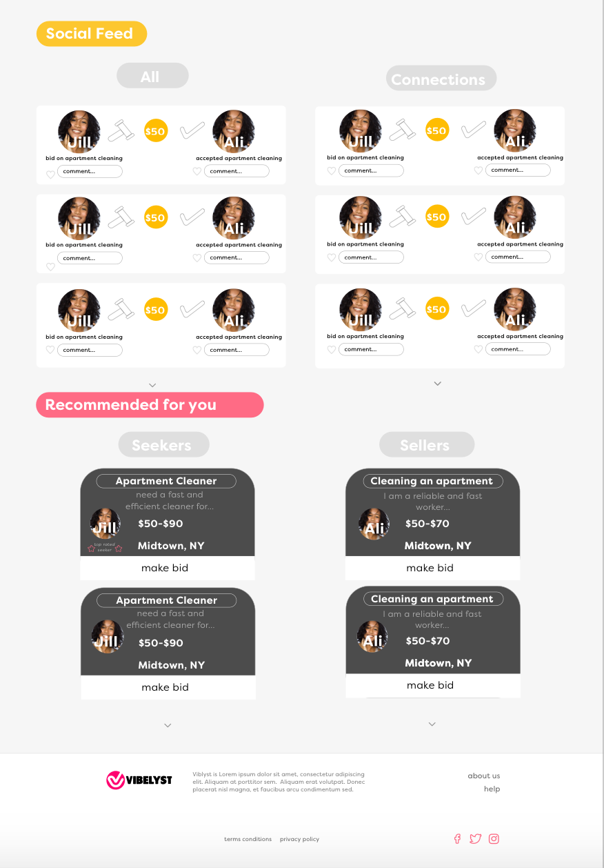 New design continued - Includes social feature that shows transactions people have recently made, and a