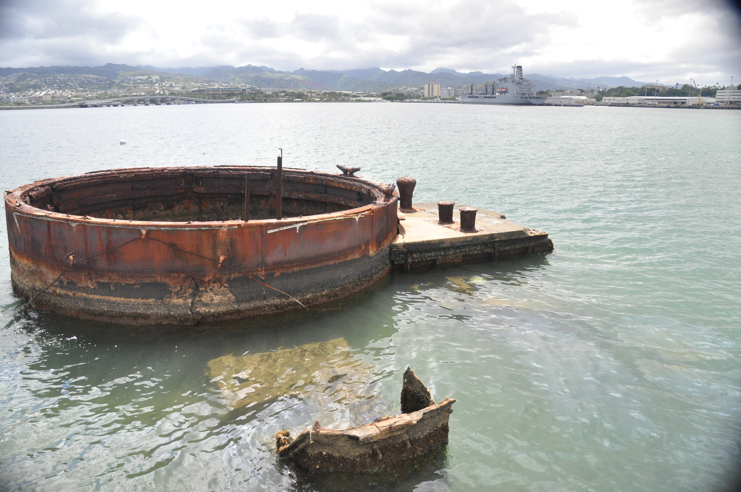 Base of gun turret No. 3, one of the few parts of the USS  Arizona  still above water.