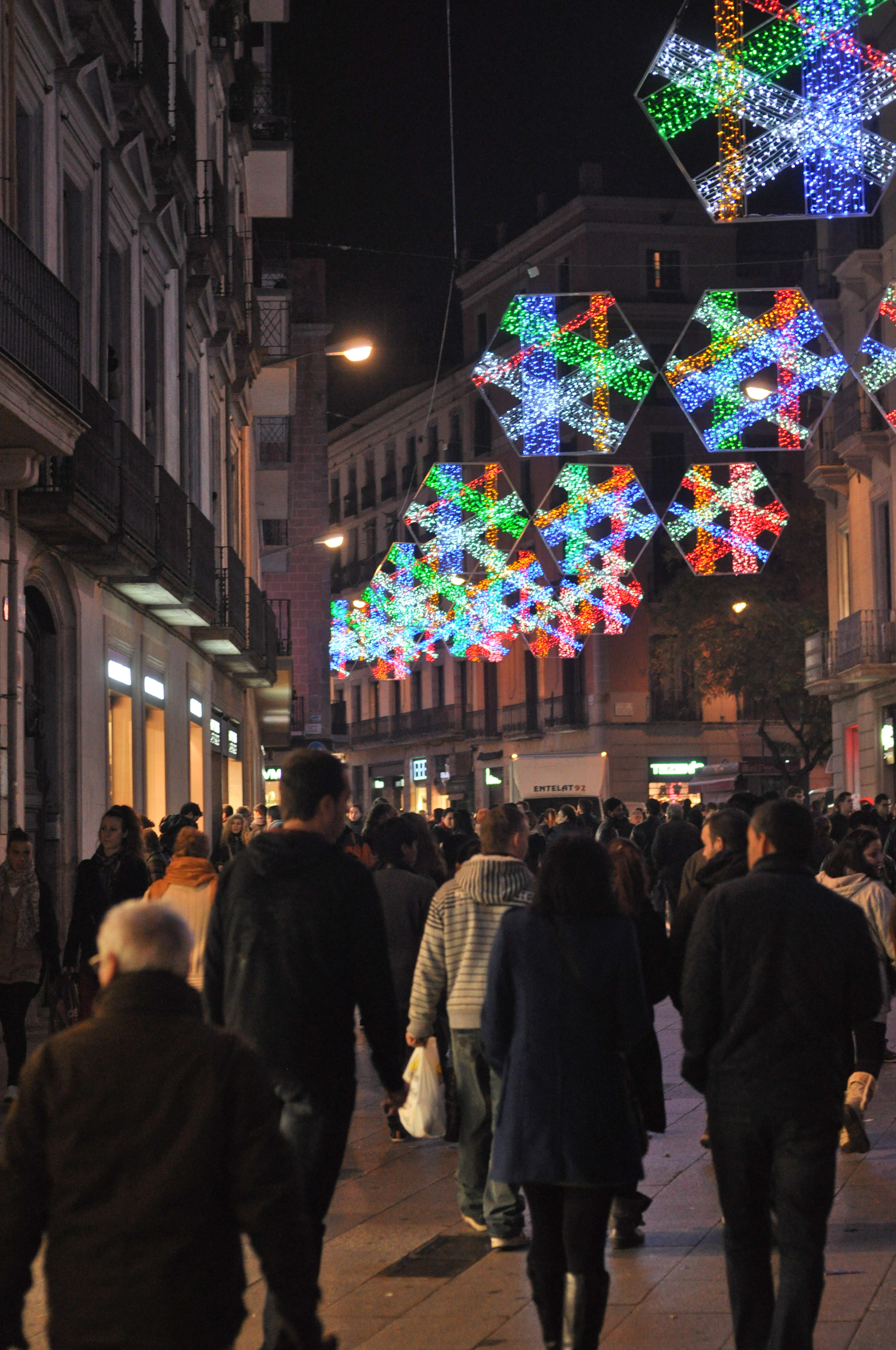 Barcelona Street decorated for Christmas.