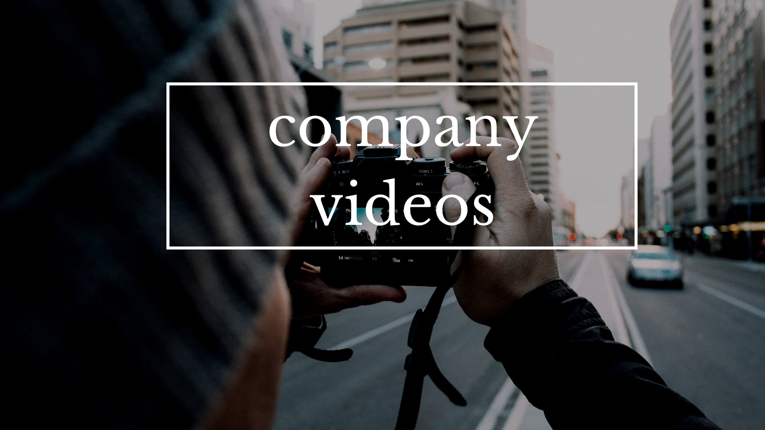 Company Videos and Testimonials   We create videos for non-profit and for-profit companies, including videos explaining a company's mission, testimonials and interviews.