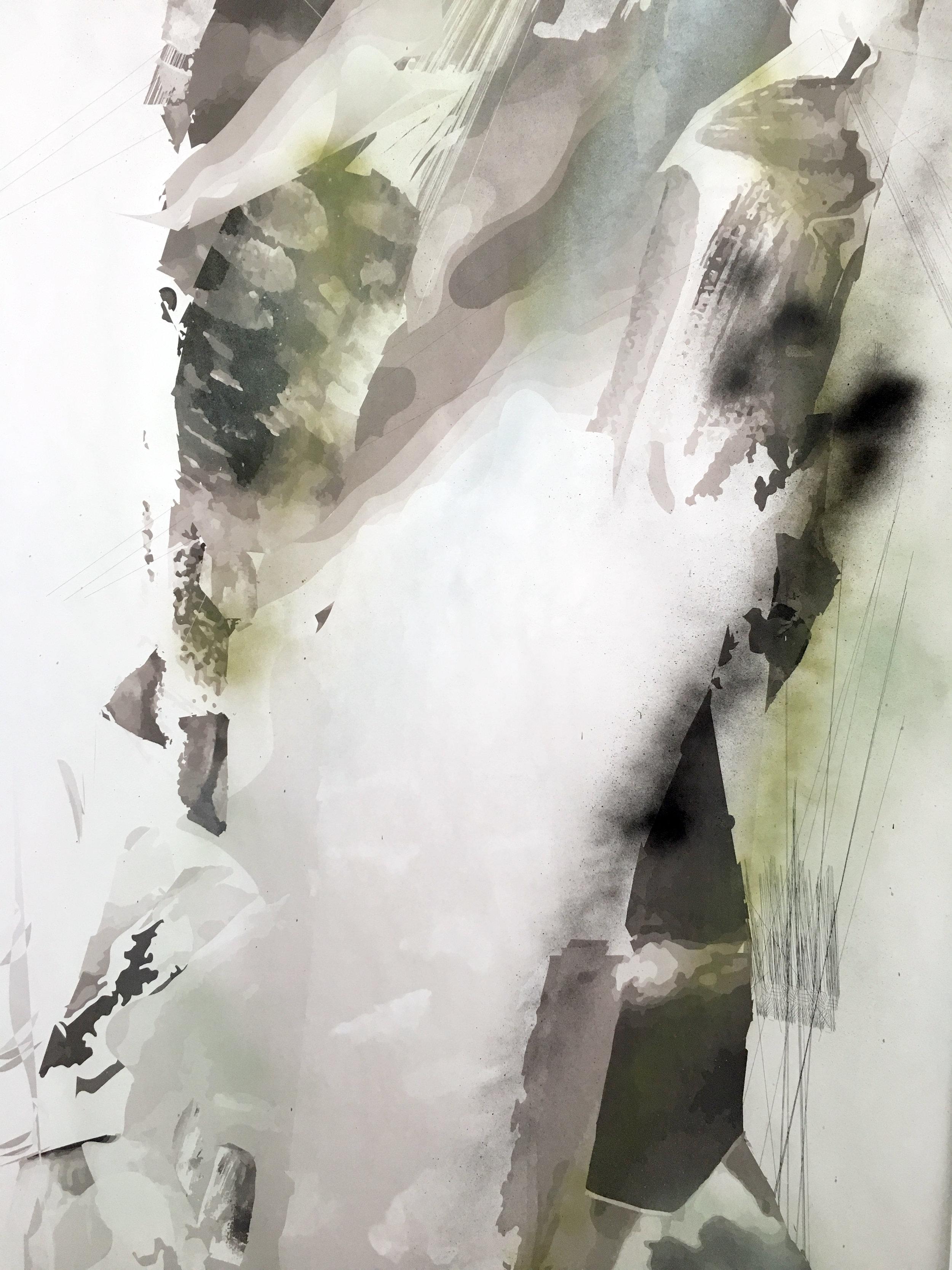 The Philosopher Walks (detail, waterfall)