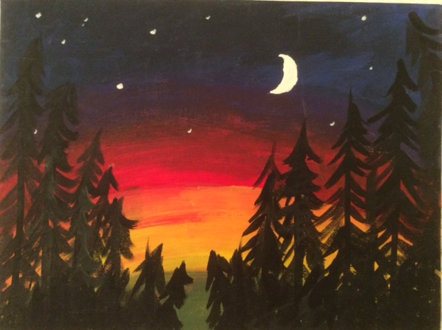 Red Sky Moon Rise