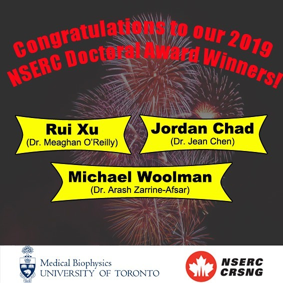 Congratulations to our 2019 NSERC Doctoral Award Winners! . Good job to Rui Xu from the O'Reilly lab at Sunnybrook, Jordan Chad from the Chen lab at Baycrest, and Michael Woolman from the Zarrine-Afsar lab at PMCRT! . We are so proud of you guys 😊 Spend that money well 😜 .  #winners #awards #NSERC #proud #congratulations #money #scholarship #mbp #mbpgsa