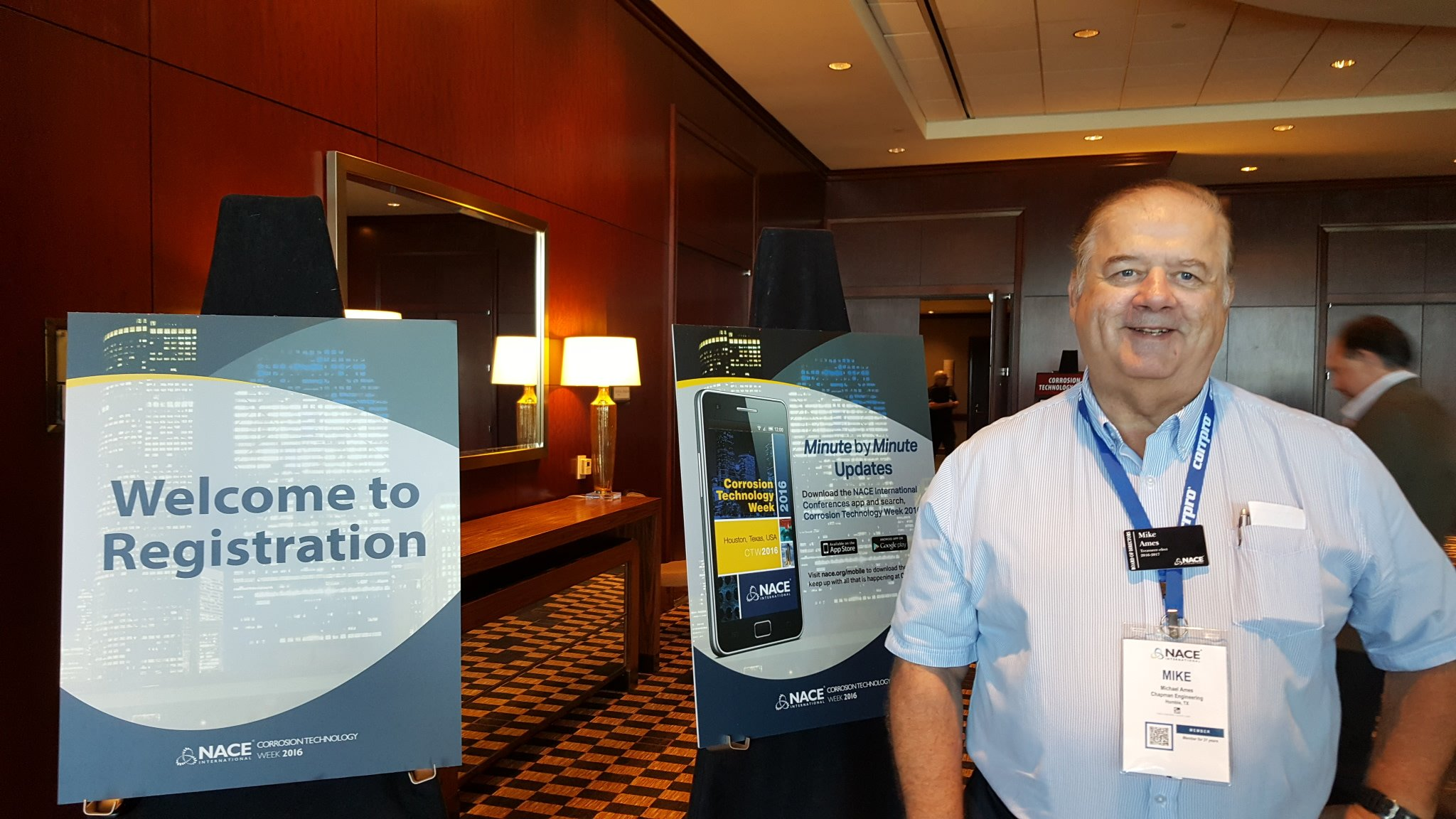 Mike Ames at the NACE Corrosion Tech Week in Houston