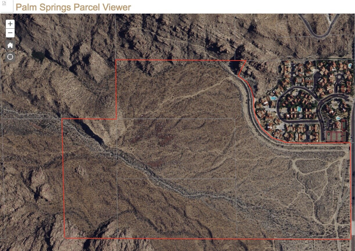 Existing Canyon Heights (upper right) is adjacent to undeveloped Oswit Canyon. Red outline is the owner's property boundary. The right side is S. Palm Canyon, where you can see cars parked daily for hiking. North is up in this photo.