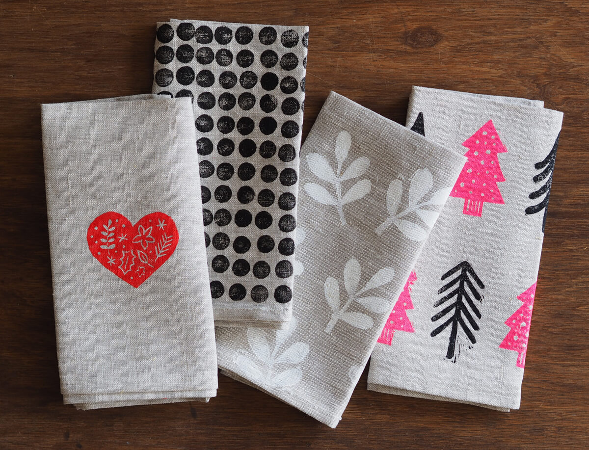 DIY printed linen napkin. Print the napkins with stamps or hand paint or stencil designs onto the napkins.