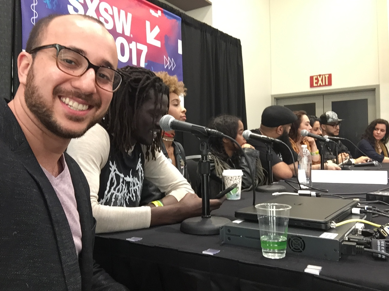Quick selfie at our pre-show Panel Discussion for ContraBanned: #Music Unites @ SXSW