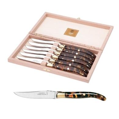 Tortoise Shell Steak Knives, Box of 6 - CLAUDE DOZORME