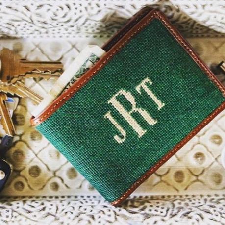 Monogramed Needlepoint Wallet - SMATHERS & BRANSON