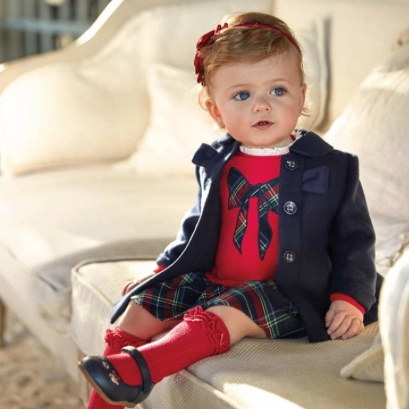 Scarlet & Plaid Dress with Navy Coat - MAYORAL