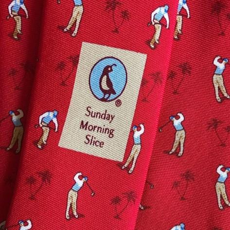 The Sunday Morning Slice Tie in Red Silk - BIRD DOG BAY