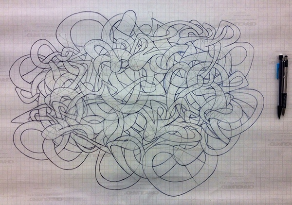 """Preliminary Drawing for Mural.  Graphite and Ink on Mylar.  18"""" x 24"""""""