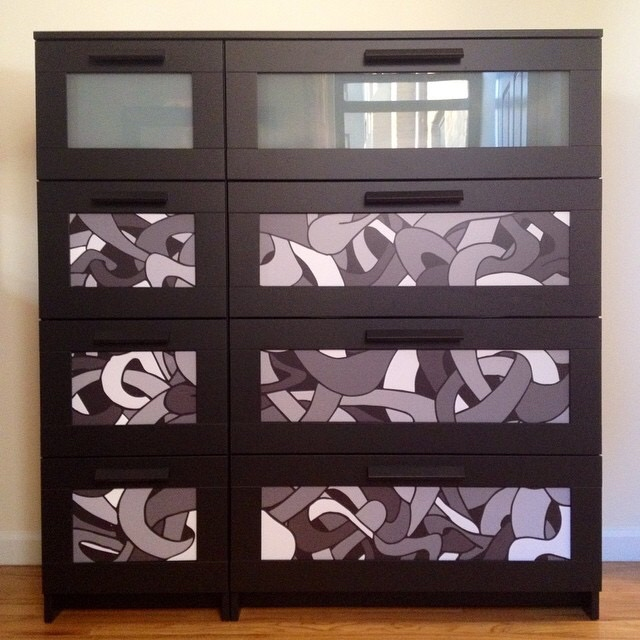 Unofficial collaboration with ikea.  Vinyl with matte lamination adhered to an IKEA dresser.
