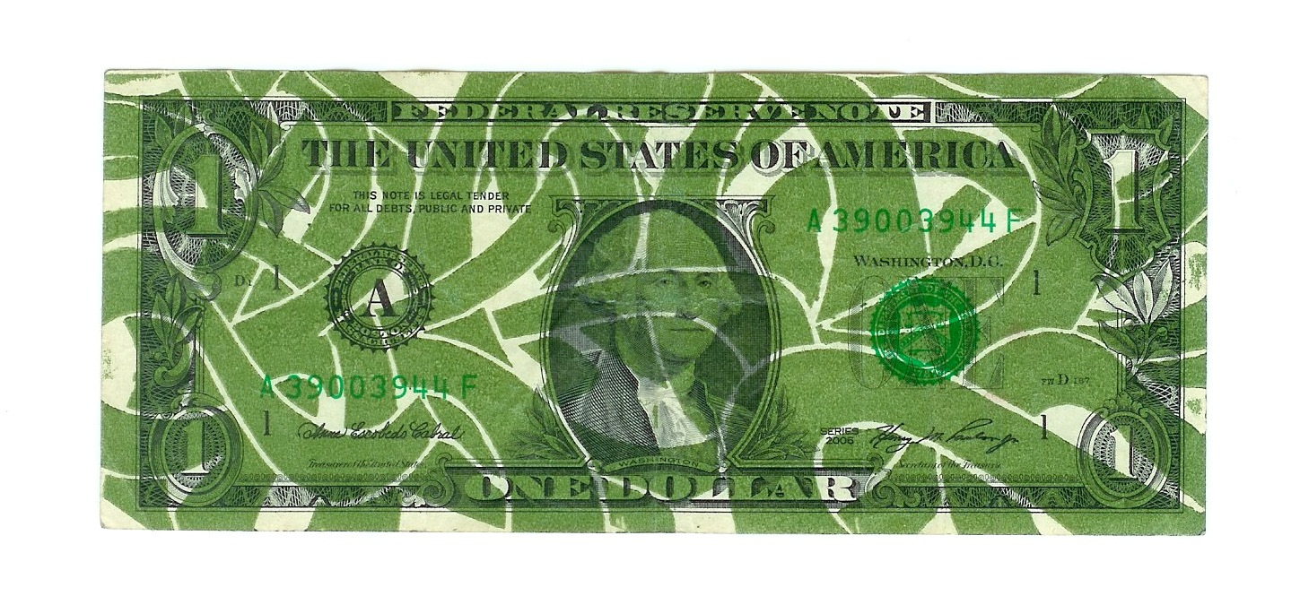 Letterpress print on Dollar Bill.