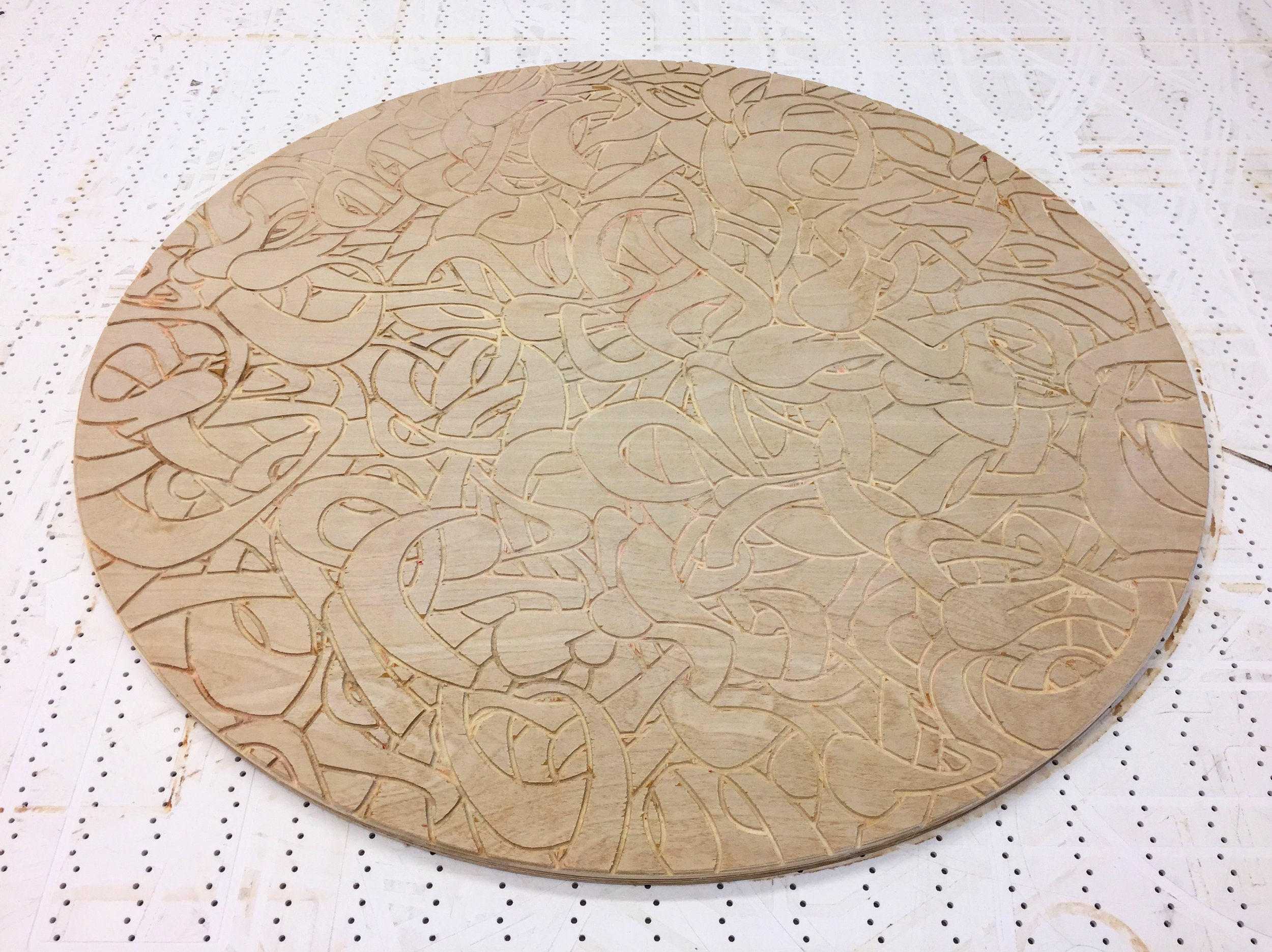 """Woodcut in Birch Plywood. Achieved using a CNC router.  30"""" Diameter   Now to decide on the finish."""