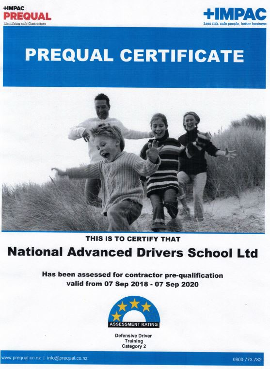 National Advanced Drivers School recently underwent a PREQUAL H&S Assessment completed by IMPAC.  We have just received the results and are pleased to advise that we have been awarded a 4 Star Assessment Rating.  Details of this assessment can be viewed by becoming an IMPAC client online and then connecting with us  https://www.prequal.co.nz/
