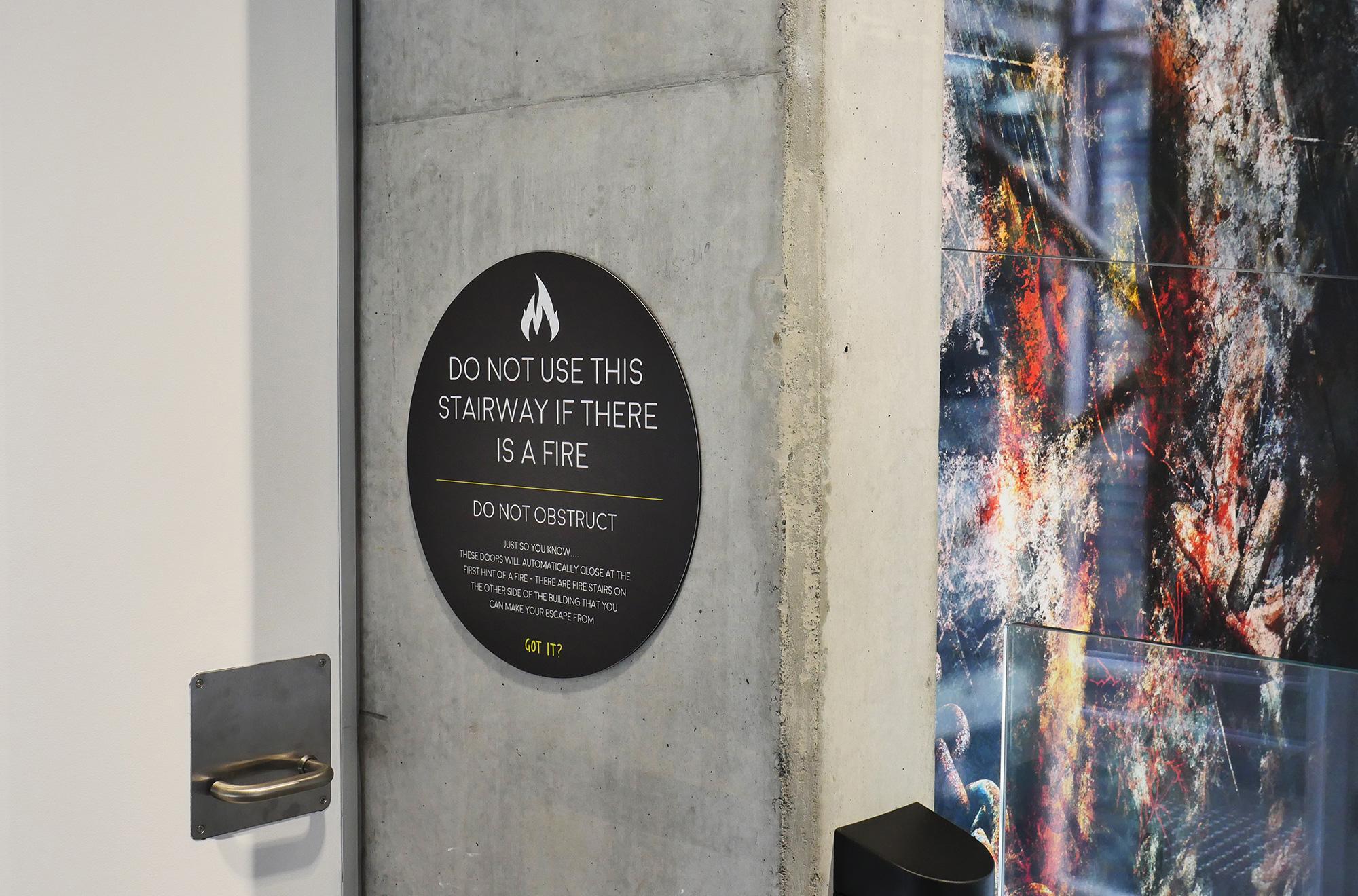 UOW i Accelerate - Statutory Fire Door Signage