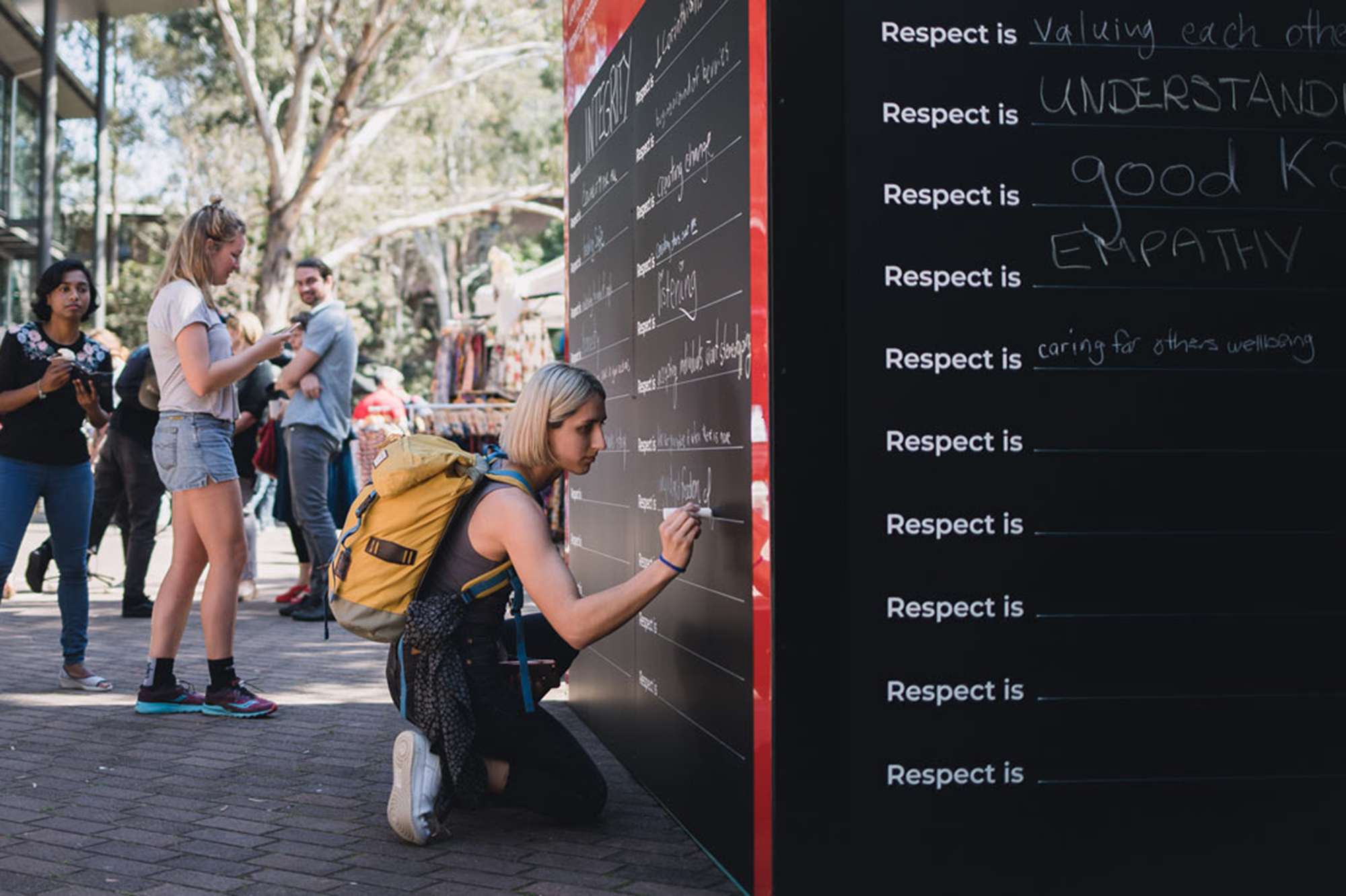 Students writing on the 3m x 3m cube at UOW. Built and installed by Visual Energy.