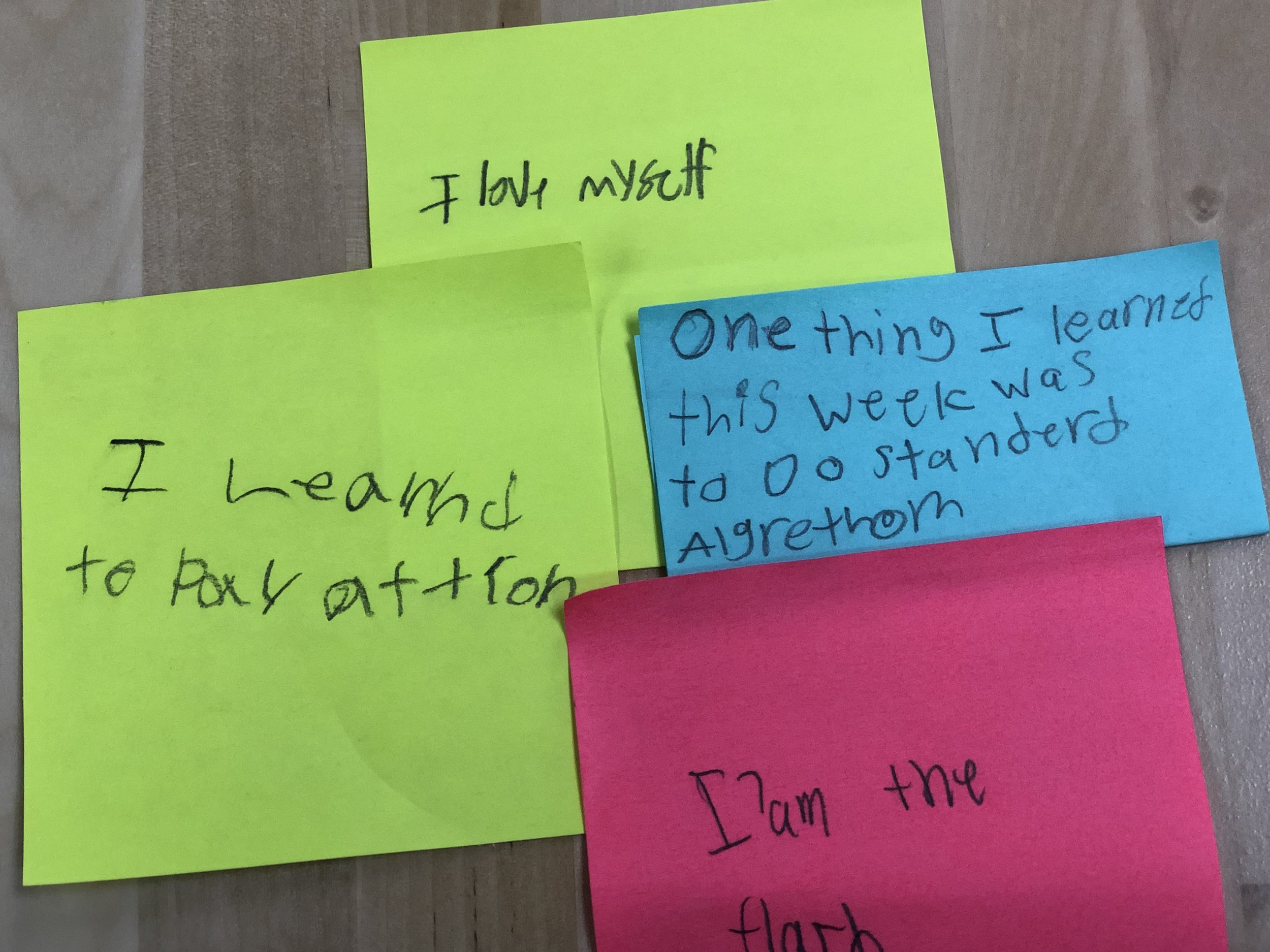 In case you aren't a teacher and find kid-spelling challenging: One thing I learned this week was to do standard algorithms. and I learned to pay attention.