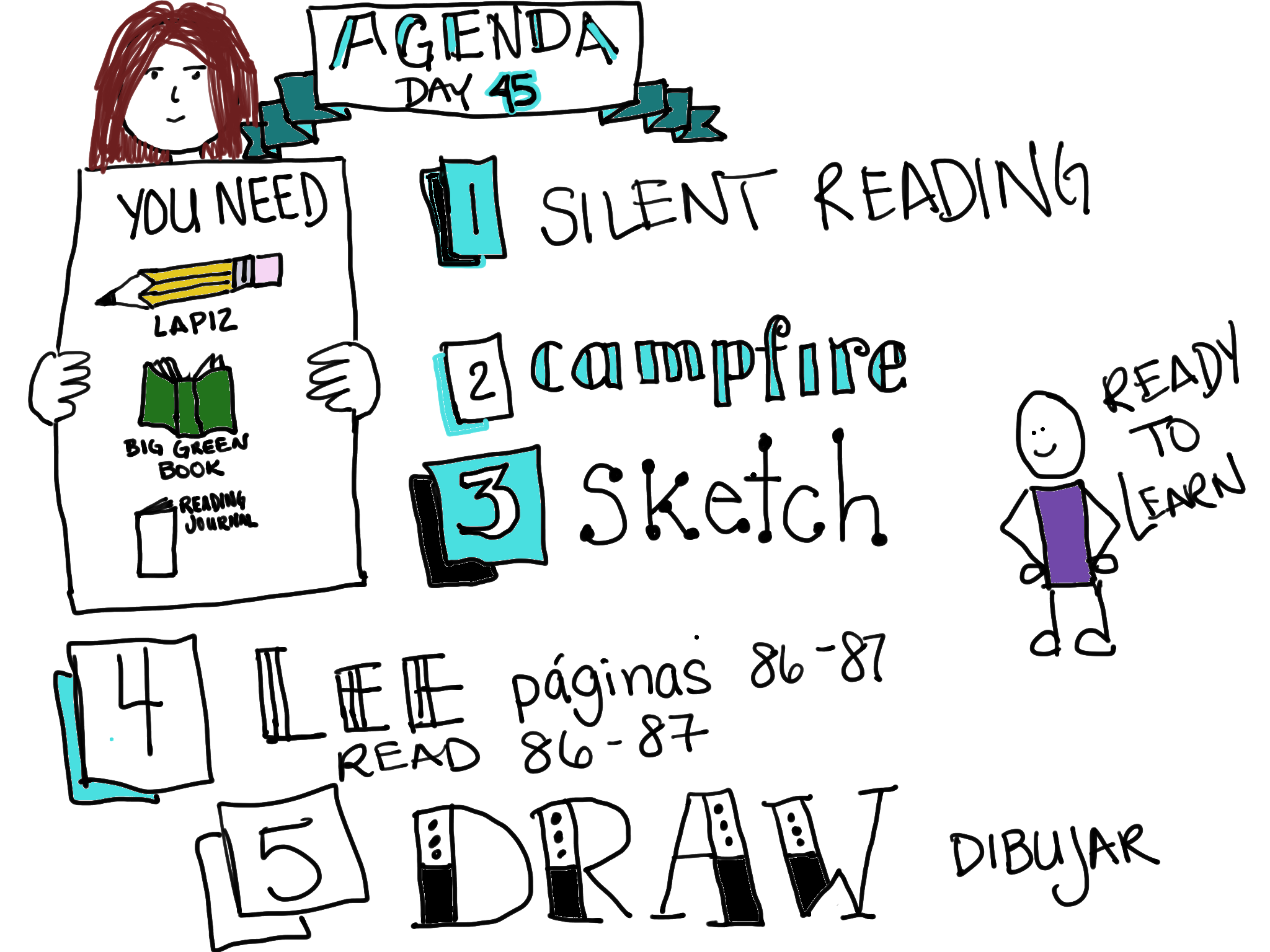 A Daily Agenda for EVERYONE with a little bit of art, too.