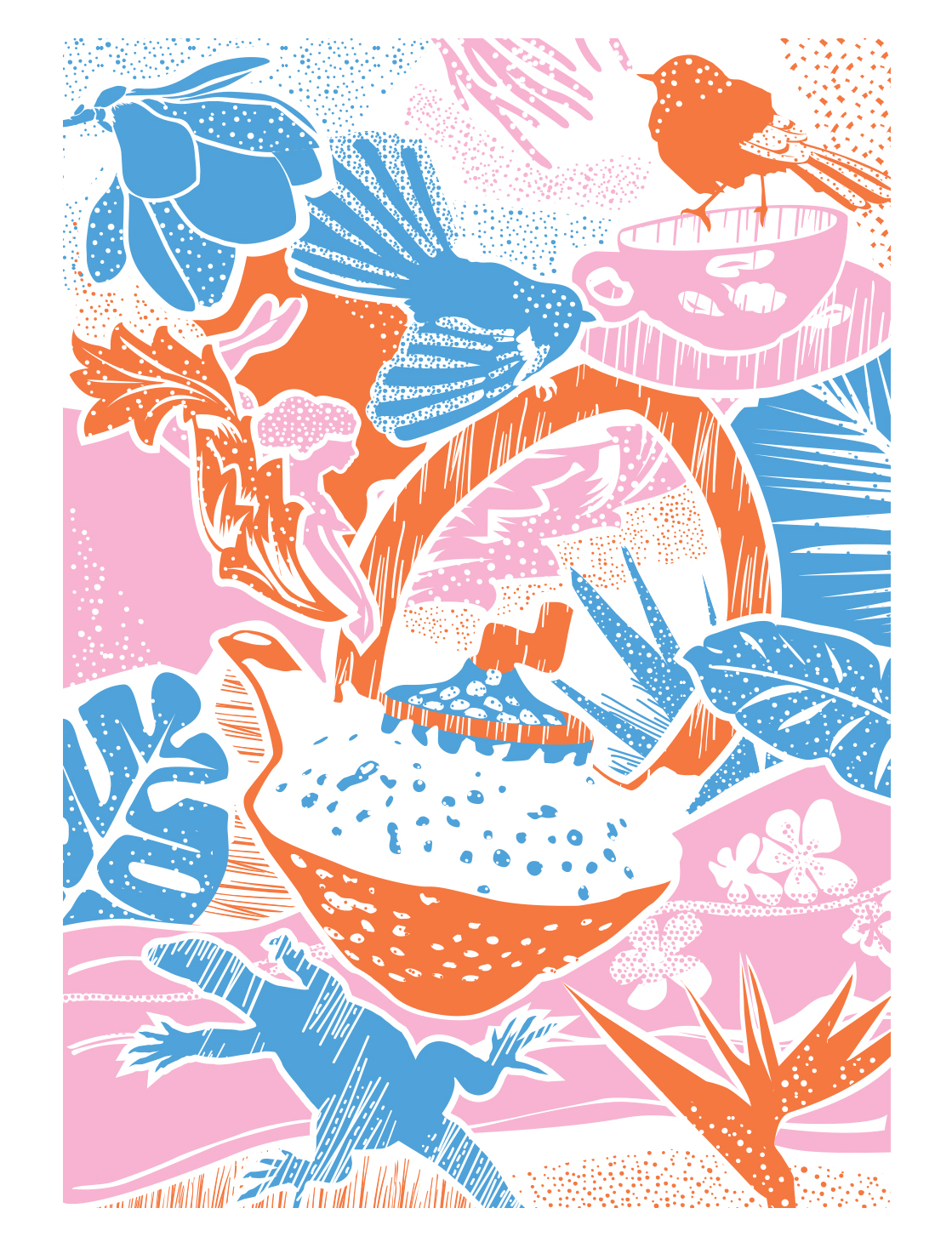 'Tea party' screen printed on tea towels and cards.