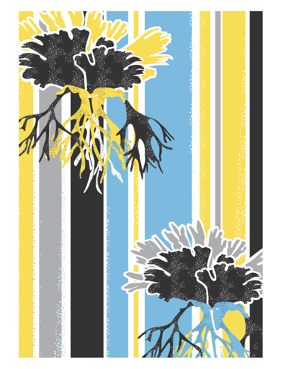 'Staghorn' screen printed on tea towels and cards.