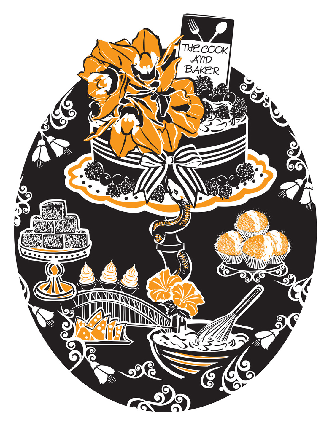 Tea towel commissioned by 'The Cook and Baker' café, Sydney 2015.