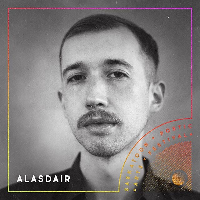 As if closing out #spaf2019 on May 11th with the #festivalfinale, a show that the ensemble create together in one day, isn't enough -  we'll also be joined by Alasdair!  Alasdair is a Fransaskois artist with fingers in many pies. In 2019, he was chosen as Saskatchewan's first youth poet laureate. He is a former Saskatoon individual poetry slam champion, teaches cultural studies and French at the University of Saskatchewan, and has served a term as the Regina Public Interest Research Group's Artist in Residence. His work has been exhibited across Western Canada and can be read in GUTS, Urbania, Oratorealis, Revue Moebius, and ÖMËGÄ.  Find the Saskatchewan Youth Poet Laureate Facebook page and give it a like to keep up with him. • • • [ID: a black and white headshot of Alasdair, overlaid with festival design elements. End of ID.] • • • #yxe #sk #Treaty6Territory #youthpoetlaureate #skyouthpoetlaureate #featuredartist #skarts #yxepoetry #fransaskois #alasdair #design #announcement • • • Design by @sckuse