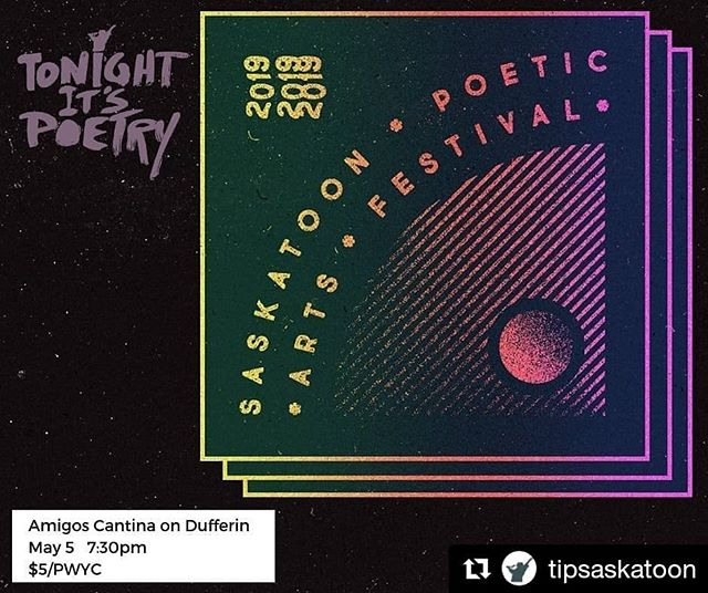 #Repost @tipsaskatoon ・・・ Tonight It's Poetry is proud to support the Saskatoon Poetic Arts Festival!  SPAF runs from May 7th to May 11th!  We're super stoked to have the festival's director, Brendan Flaherty on our stage to kick off SPAF this Sunday, May 5th!⁣ • • • [ID: the SPAF logo on a black background with a purple text Tonight It's Poetry logo. End of ID ] • • • #spaf2019 #tonightitspoetry #spokenword #poets #poetry #poems #collaborations #yxespokenword #yxepoets #yxepoetry #yxepoems #amigoscantina #saskartsboard #treatysixterritory #metishomeland