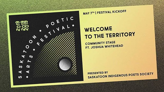Today's the day! Poets are arriving in #yxe and we're getting excited to kick things off at 8 PM at @pavedarts with @jwhitehead204 and more - presented by the @indigenouspoetsociety!  Full festival link in our bio. ✨✨✨ [ID: A yellow and black edition of the festival logo with the text 'May 7th | Festival Kickoff - Welcome To The Territory Community Stage ft. Joshua Whitehead - presented by Saskatoon Indigenous Poets Society'. End of ID.] • • • #sk #treaty6poetry #Treaty6Territory #skarts #fullmetalindigiqueer #jonnyappleseed #joshuawhitehead #yxearts #liveevents #pavedarts #community #indigenouspoetry