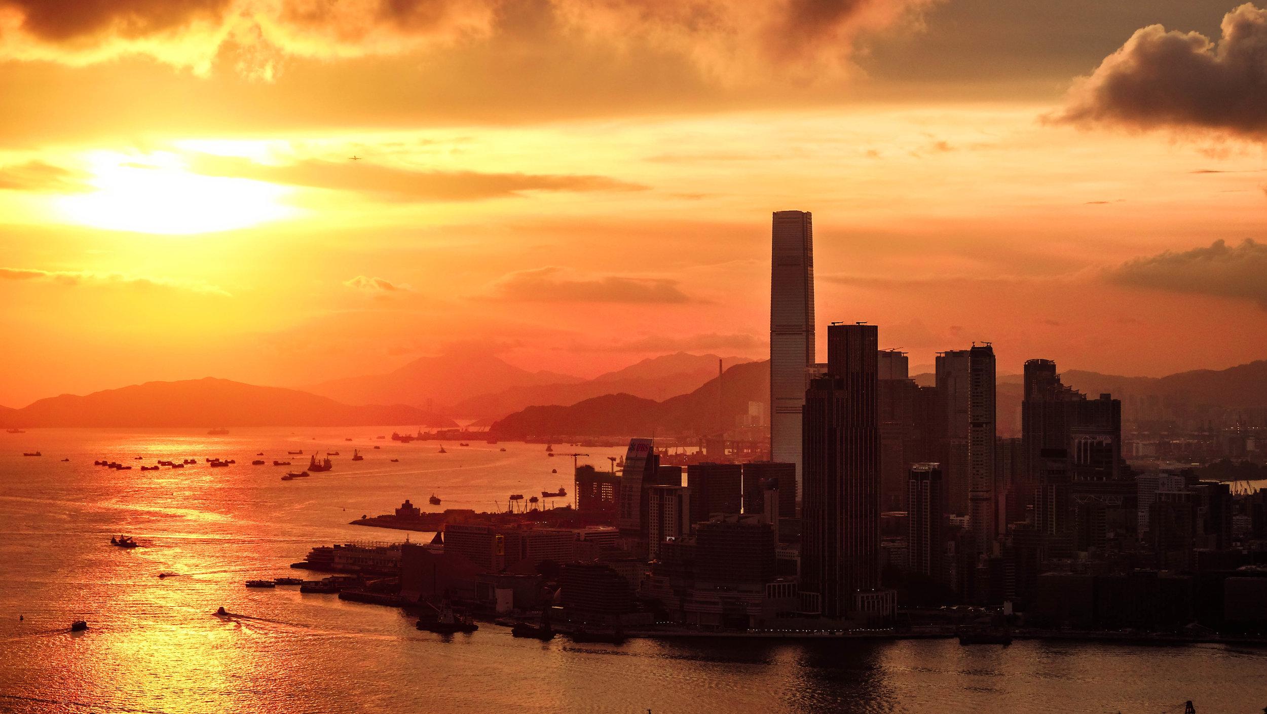 Hong Kong Sunset from Red Incense Burner Summit